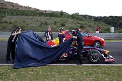 Sebastian Vettel, Red Bull Racing, RB5, stops on track