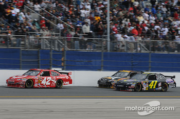 Juan Pablo Montoya, Earnhardt Ganassi Racing Chevrolet, Jeremy Mayfield, Mayfield Motorsports Toyota, and Jeff Burton, Richard Childress Racing Chevrolet