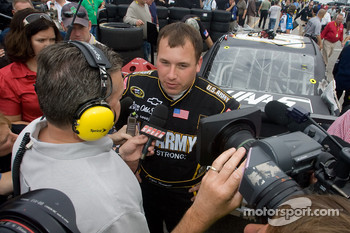 Ryan Newman, Stewart-Haas Racing Chevrolet, talks with the media after his crash with teammate Tony Stewart, Stewart-Haas Racing Chevrolet