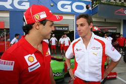 Felipe Massa and Filipe Albuquerque, driver of A1 Team Portugal