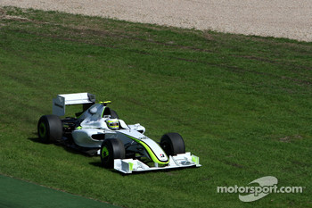 Rubens Barrichello, Brawn GP, BGP001, BGP 001, runs off the track
