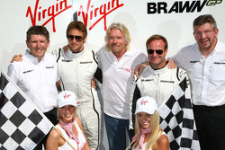 Nick Fry, BrawnGP, Chief Executive Officer with Jenson Button, Brawn GP Sir Richard Branson CEO of the Virgin Group makes and announcement regarding the Virgin sponsorship deal with Brawn GP, Rubens Barrichello, Brawn GP and Ross Brawn Brawn Grand Prix Te