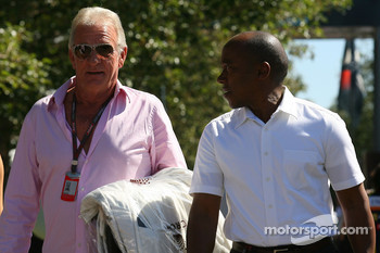 John Button, father of Jenson Button, Brawn GP with Anthony Hamilton, Father of Lewis Hamilton