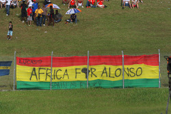 A fan poster for Fernando Alonso, Renault F1 Team