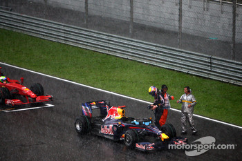 Mark Webber, Red Bull Racing, after the race was red flagged due to rain