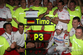 Toyota F1 celebrations: Tadashi Yamashina, Chairman and Team Principal, Jarno Trulli, Toyota Racing, Timo Glock, Toyota F1 Team