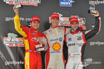Podium: race winner Junior Strous, second place Sebastian Saavedra, third place James Hinchcliffe