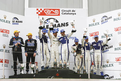 LMP2 podium: class winners Matteo Bobbi, Andrea Piccini and Thomas Biagi, second place Miguel Amaral and Olivier Pla, third place Filippo Francioni, Andrea Ceccato and Giacomo Piccini