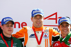 Second place Adam Carroll, driver of A1 Team Ireland, race winner Robert Doornbos, driver of A1 Team Netherlands, third place Filipe Albuquerque, driver of A1 Team Portugal