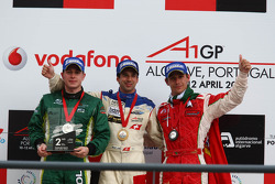 Provisionial second place Adam Carroll, driver of A1 Team Ireland, race winner Neel Jani, driver of A1 Team Switzerland, provisional third place Filipe Albuquerque, driver of A1 Team Portugal