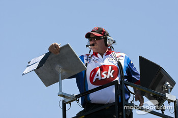 Ask.com crew chief Todd Parrot watches the practice session