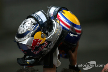 Helmets of Sebastian Vettel, Red Bull Racing and Mark Webber, Red Bull Racing