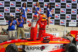 Victory lane: race winner J.R. Hildebrand celebrates