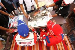 Heinz-Harald Frentzen Team Lavaggi and Thomas Biagi Palm Beach Team Lavaggi sign autographs for the fans