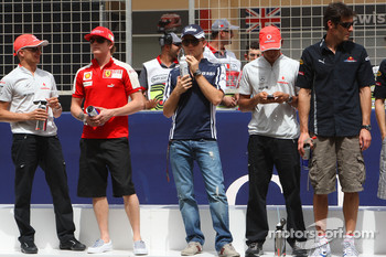 Heikki Kovalainen, McLaren Mercedes, Kimi Raikkonen, Scuderia Ferrari, Nico Rosberg, Williams F1 Team, Lewis Hamilton, McLaren Mercedes and Mark Webber, Red Bull Racing