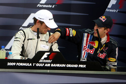 FIA press conference: race winner Jenson Button, Brawn GP, second place Sebastian Vettel