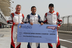 The three championship contenders battle for the winners cheque of $500,000: Johnny Herbert JMB; Gianni Morbidelli Palm Beach and Heinz-Harald Frentzen Team Lavaggi