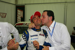 Gianni Morbidelli Palm Beach celebrates his championship success with Claudio Berro Speedcar Series Operations Director
