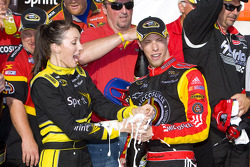 Victory lane: race winner Brad Keselowski, Phoenix Racing Chevrolet celebrates with champagne