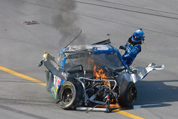 Carl Edwards, Roush Fenway Racing Ford, exits his car