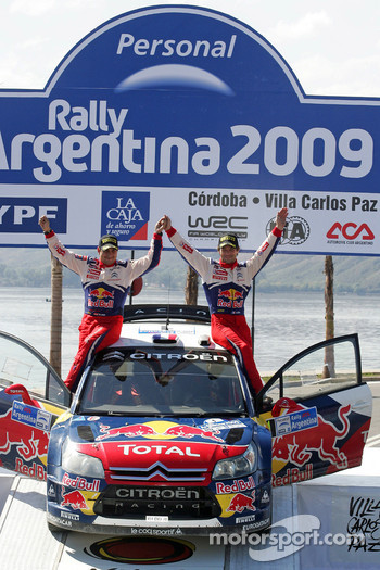 Podium: winners Sbastien Loeb and Daniel Elena, Citroen C4, Citroen Total World Rally Team