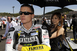 James Toseland, Monster Yamaha Tech 3 with his umbrella girl