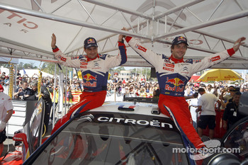 Winners Sbastien Loeb and Daniel Elena, Citroen C4, Citroen Total World Rally Team, celebrate