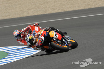 Dani Pedrosa, Repsol Honda Team leads Casey Stoner, Ducati Marlboro Team