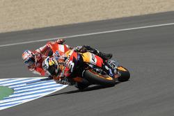 Dani Pedrosa, Repsol Honda Team leads Casey Stoner, Ducati Marlboro Team