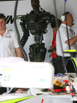 Rubens Barrichello, Brawn GP with Terminator in the garage