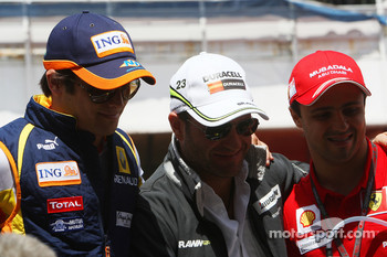 Nelson A. Piquet, Renault F1 Team, Rubens Barrichello, Brawn GP and Felipe Massa, Scuderia Ferrari