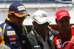 Nelson A. Piquet, Renault F1 Team, Rubens Barrichello, Brawn GP and Felipe Massa, Scuderia Ferrari