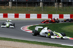 Rubens Barrichello, Brawn GP leads Jenson Button, Brawn GP