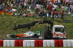 Adrian Sutil, Force India F1 Team after his crash