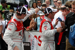 Oliver Jarvis, Audi Sport Team Phoenix Audi A4 DTM pouring water in the race suit of Tom Kristensen, Audi Sport Team Abt Audi A4 DTM
