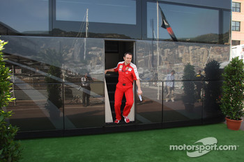 Stefano Domenicali, Scuderia Ferrari, Sporting Director coming out of Bernie Ecclestone's Motorhome