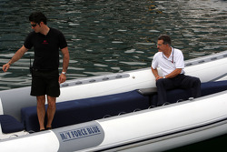 Dr. Mario Theissen, BMW Sauber F1 Team, BMW Motorsport Director on his way to the FOTA meeting on the boat of Flavio Briatore, Renault F1 Team, Team Chief, Managing Director