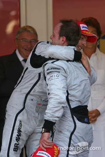 1st place Jenson Button, Brawn GP and 2nd place Rubens Barrichello, Brawn GP
