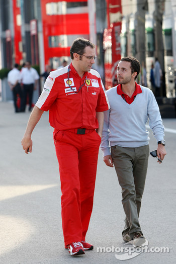 Stefano Domenicali, Scuderia Ferrari, Sporting Director with Nicolas Todt, Manager of Felipe Massa