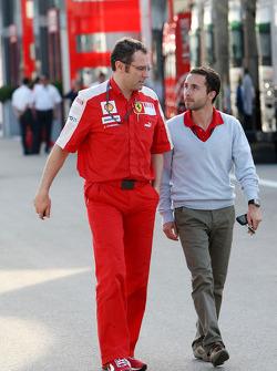 Stefano Domenicali, Scuderia Ferrari, Sporting Director with Nicolas Todt, Manager of Felipe Massa
