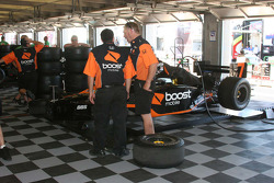 Andretti-Green crew members discuss work on the #7 Boost Mobile/Motorola car of Danica Patrick