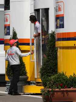 A big meeting of all Team Principles and all F1 drivers is held in the Toyota motorhome: Heikki Kovalainen, McLaren Mercedes