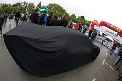 Car under cover as the rain falls on Le Mans