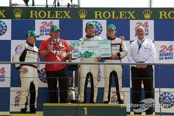 Michelin Green X podium: winners Casper Elgaard, Kristian Poulsen and Emmanuel Collard