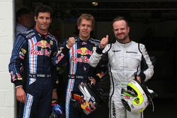 Pole winner Sebastian Vettel, Red Bull Racing, second place Rubens Barrichello, Brawn GP, third place Mark Webber, Red Bull Racing