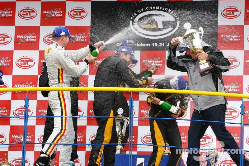 GT1 podium: champagne celebration