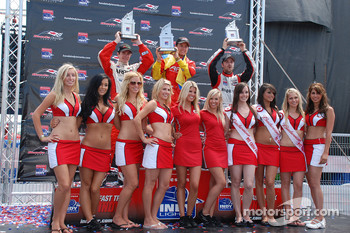 Podium: race winner Sebastian Saavedra, second place J.R. Hildebrand, third place James Hinchcliffe