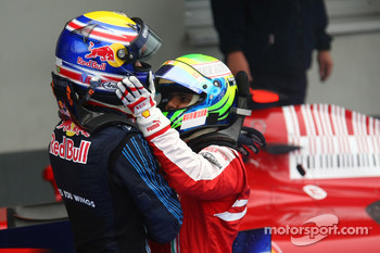 Race winner Mark Webber, Red Bull Racing celebrates with Felipe Massa, Scuderia Ferrari