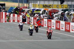 Casey Stoner, Ducati Team, Valentino Rossi, Fiat Yamaha Team, Dani Pedrosa, Repsol Honda Team, Jorge Lorenzo, Fiat Yamaha Team