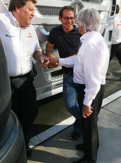Norbert Haug, Mercedes, Motorsport chief, Jacques Villeneuve and Bernie Ecclestone